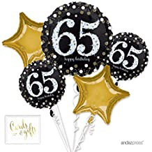 Andaz Press Balloon Bouquet Party Kit with Gold Cards & Gifts Sign, Bouquet Milestone 65th Birthday Decorations, 1-Set