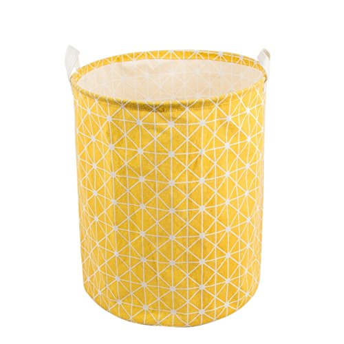 Every Deco Cylinder Round Single Fabric Plastic Frame Laundry Basket Hamper Storage Bin Organization Collapsible Foldable Toys Clothes - 19.7