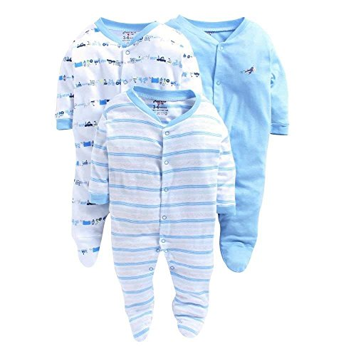 VADMANS Baby Castle 100% Hosiery Cotton Infants Onesies/Rompers/Jumpsuit/Body Suit/Sleep Suit Full Sleeve Multi-Color Romper for Boys and Girls Set of 3 Combo Pack (Unisex)