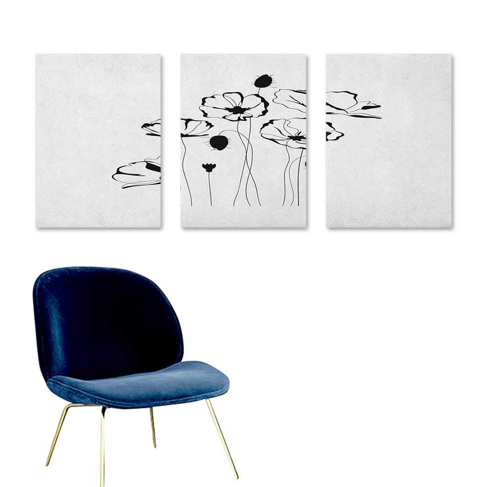 J Chief Sky Poppy,Cool Posters Monochrome Herbs with Buds on Skinny Stems Artistic Summer Corsage Composition Posters for Sale Dark Brown White W24 x L48
