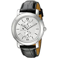 Lucien Piccard Men's LP-40026-02S Spiga Stainless Steel Watch with Black Leather Band