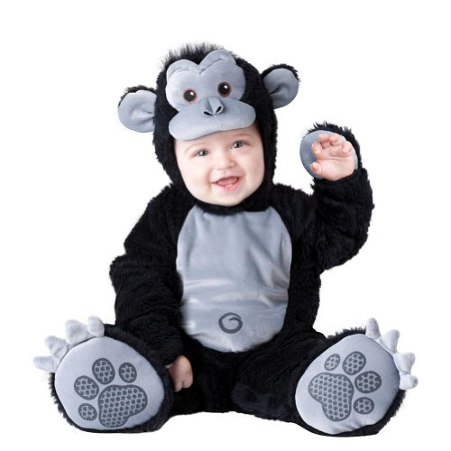 Super Gorilla Child Costumes (Boo Infant Boys & Girls Plush Black Goofy Gorilla Costume Monkey Outfit 6-12m)