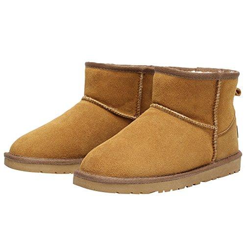 Donne Rismart Inverno Caldo Foderato In Pelliccia Stivaletti Comfort Stivali Da Neve In Camoscio Tan Sn1054 Us4.5