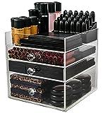 N2 maquillaje Co acrílico maquillaje organizador cubo | Caja de almacenamiento de 3 cajones para mesas de tocador