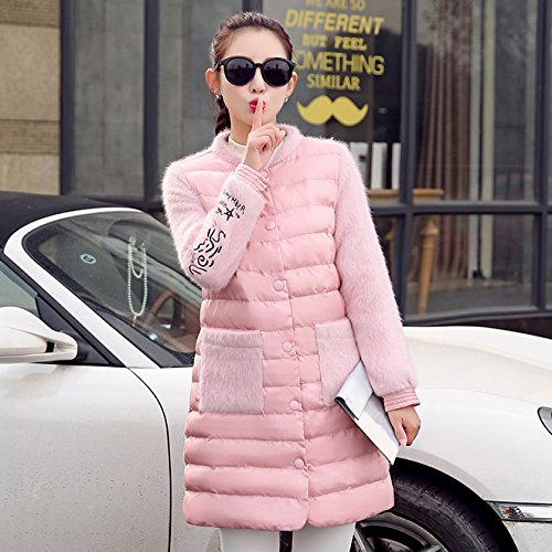 Autumn Video High Jacket Is Pink Of Loose Sau Cotton Hair Women Cotton Winter And Long Section Low Thin Lap Stitched Coat Xuanku OqxP54aR