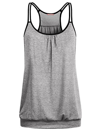 Summer Tops for Women, BlevonH Ladies Sleeveless Crew Neck Ruffle Banded Hem Strappy Racerback Running Tanks Camisole Fashion Lightweight Grey XL