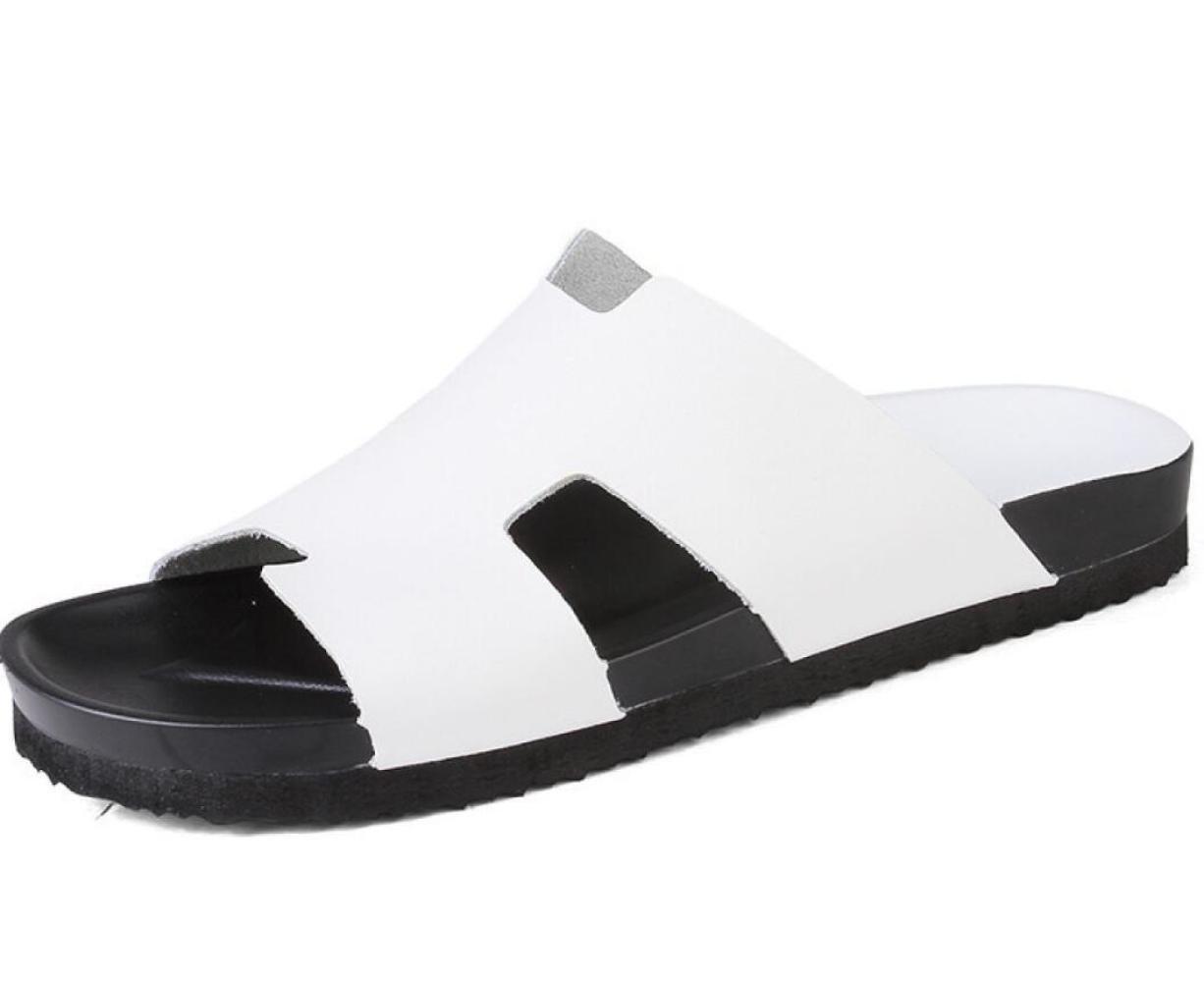 DHFUD Zapatos De Hombre Palabra Zapatillas Sandalias De Verano Sandalias Sandalias Zapatos De Playa 42 EU|White