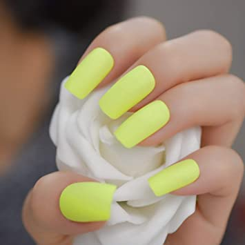 Amazon.com : CoolNail Matte Finished Lemon Yellow Press on False ...
