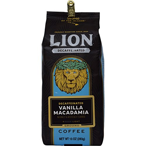 Lion Coffee Vanilla Macadamia Decaffeinated, Grind, 10 (Macadamia Nut Flavored Decaf Coffee)