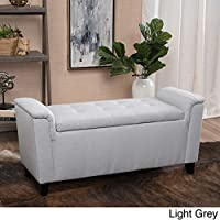 Alden Tufted Fabric Armed Storage Ottoman Bench (Light Grey)