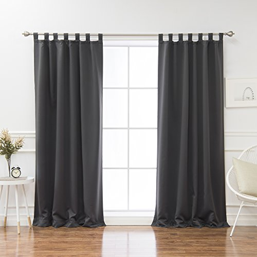 Tab Top Panels Tie Backs (Best Home Fashion Tab Top Thermal Insulated Blackout Curtain – Tabtop - Tieback included – (Set of 2 Panels) (52