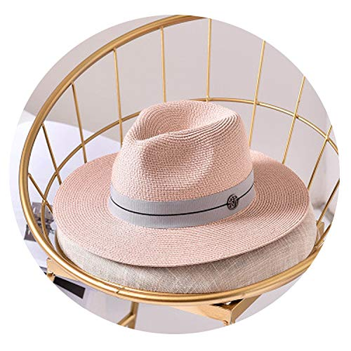 Casual Sun Hats for Women Letter M Jazz Straw for Man Beach Sun Straw Panama Hat Wholesale and Retail Pink