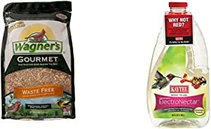 Wagner's 82056 Gourmet Waste Free Wild Bird Food, 5-Pound Bag & Kaytee 100506148 Ready to Use Hummingbird ElectroNectar, 64 Ounces, Clear