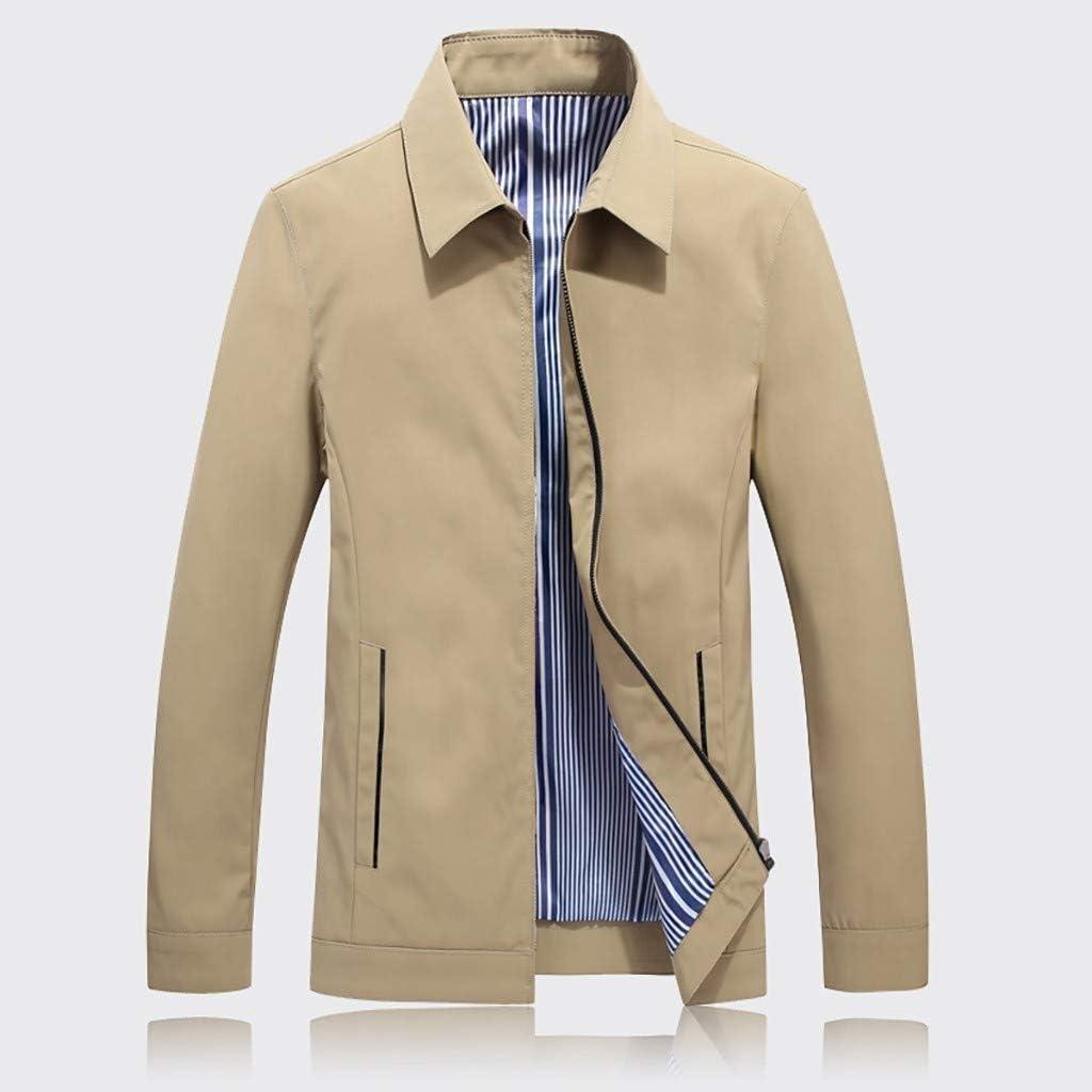 Mens Autumn Winter Casual Outwear Pure Color Zipper Breathable Jacket Coat