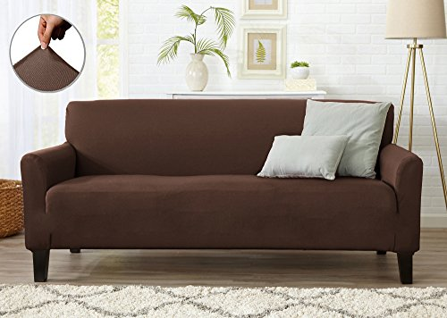Form Fit Stretch, Stylish Furniture Cover / Protector Featuring Lightweight Twill Fabric. Dawson Collection Basic Strapless Slipcover. By Home Fashion Designs Brand. (Sofa, Mocha) (Stretch Twill Slip)