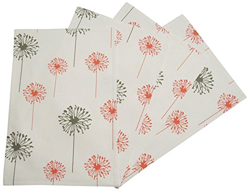 Crabtree Collection Coral Gray Dandelion Placemat Set by Top 4-Pack Place Mats from 100% Cotton| Fresh, Trendy Design & Eye-Catching Colors| Dining Table Accessory for Home, Restaurant, Café (Coral Table Cafe)