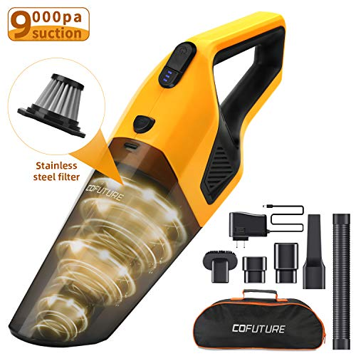 Handheld Vacuum Cordless,Cofuture 9KPA Powerful Handheld Vacuum Cleaner, Rechargeable Lithium Battery&120W Strong Motor,Hand Vacuum Cordless with Stainless Steel Filter for Home Pet Hair Car Cleaning