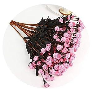 SHEEP YANG Multicolor PE Rose Foam Mini Artificial Silk Flowers Bouquet Solid Color Wedding Decorative Flowers Wreaths,Pink 105