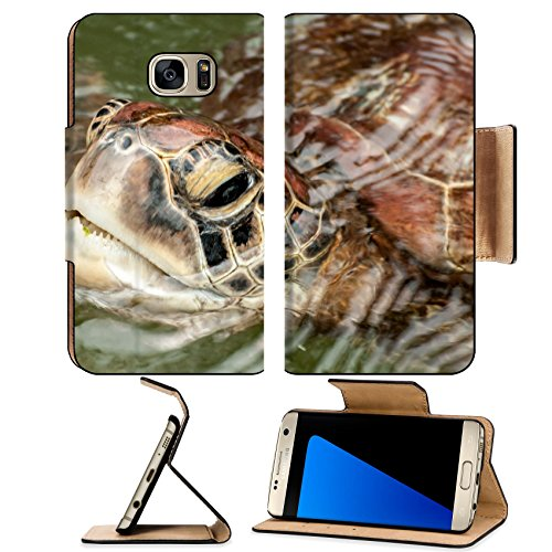 Luxlady Premium Samsung Galaxy S7 Edge Flip Pu Wallet Case ID: 41772125 A close up view of the head and face of a Green in a sanctuary at Zanzibar