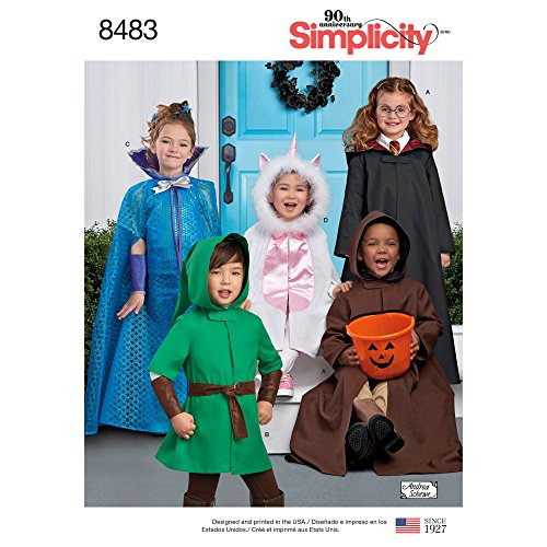 Simplicity US8483A Kid's Character Halloween Costume Sewing Patterns,