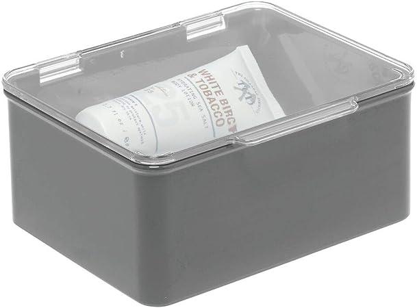 mDesign Caja con tapa para la cocina, la despensa o el despacho – Cajones de plástico sin BPA apilables – Cajas de ordenación compactas para artículos del hogar – gris oscuro/transparente: Amazon.es: