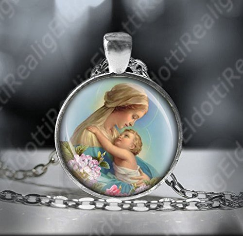 Our Blessed Lady Virgin Mary and Baby Jesus Catholic Necklace Religious Medal. Mother Mary Pendant -