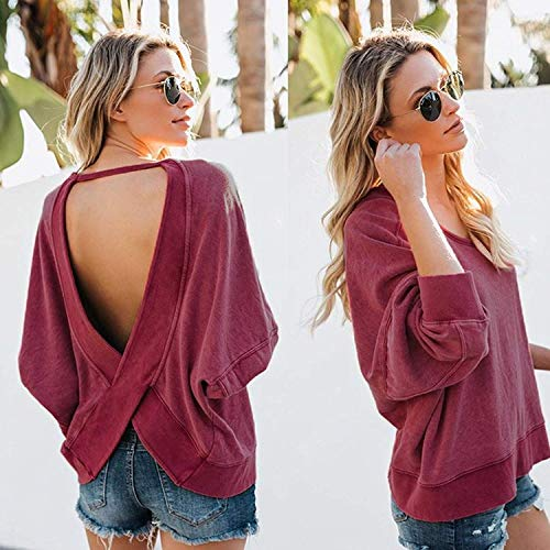 Pulls Manches Nu Chic Tops Longues T Shirt Femme Rouge Lache Sweatshirt Dos Tomwell Automne DContract Chemise Blouse Swvqx1nR