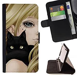 For Samsung Galaxy A3 Girl Anime Cat Blonde Black Yellow Eyes Drawing Style PU Leather Case Wallet Flip Stand Flap Closure Cover