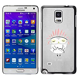 Paccase / SLIM PC / Aliminium Casa Carcasa Funda Case Cover para - Owl Indian Kids Cute Story Parents Night - Samsung Galaxy Note 4 SM-N910F SM-N910K SM-N910C SM-N910W8 SM-N910U SM-N910