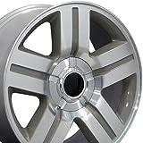 22x9 Wheel Fits GM Trucks & SUVs - Chevy Texas Style Mach'd Silver Rim, Hollander 5291 - SET