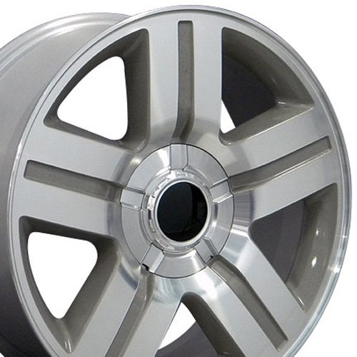 20×8.5 Wheel Fits GM Trucks & SUVs – Chevy Texas Style Silver Rim w/Mach'd Face, Hollander 5291
