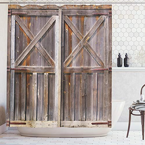 Ambesonne Rustic Shower Curtain, Old Wooden Barn Door of Farmhouse Oak Countryside Village Board Rural Life Photo Print, Fabric Bathroom Decor Set with Hooks, 70 Inches, Brown for $<!--$19.90-->