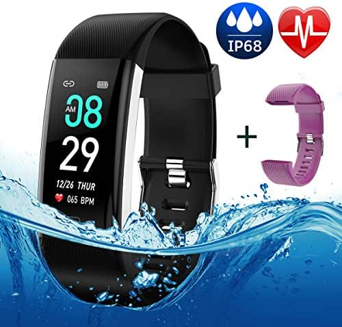 Fitness Tracker Color Screen Waterproof Activity Tracker Smart Watch Remote Photography Heart Rate Blood Pressure Blood Oxygen Monitor Step Calorie Counter Pedometer for Women Men Kids