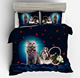 Fantastic Gentleman Cat Lady Puppy Cotton Microfiber 3pc 90''x90'' Bedding Quilt Duvet Cover Sets 2 Pillow Cases Queen Size