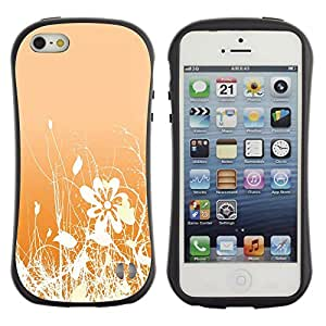 Suave TPU GEL Carcasa Funda Silicona Blando Estuche Caso de protección (para) Apple Iphone 5 / 5S / CECELL Phone case / / Floral Pattern Orange White Flowers Field /