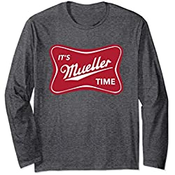 Unisex It's Mueller Time Funny Anti Trump Long Sleeve T-shirt XL: Dark Heather