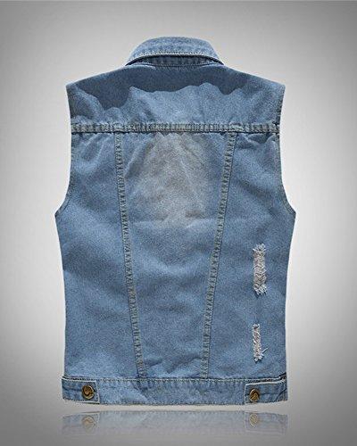 Maniche Uomo Panciotto Gilet Senza Giacca Azzurro Maglia Denim Giubbotto Jeans Smanicato Casuale 1OwHw64q