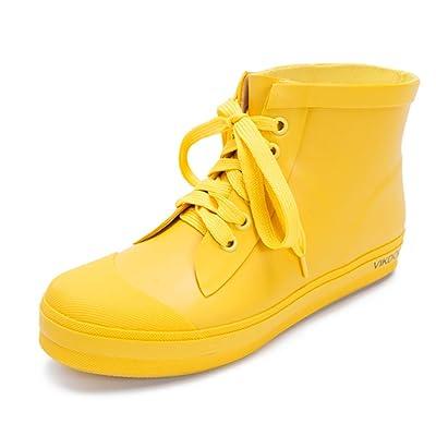 QIANDA Adulte Chaussures De Pluie Femmes Galoshes Semelle Souple Caoutchouc Imperméable Saison Des Pluies, 2 Couleurs (Couleur : Le jaune, taille : 9UK/11US/42EU)