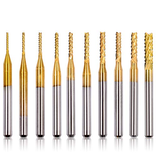 GEERTOP 10Pcs CNC Router Bits Set 1/8″ Shank 0.8-3 mm End Mill Carbide Rotary Engraving Machine Drilling Hole Tool for PCB Mould Circuit Board Plastic Carbon Fiber Wood