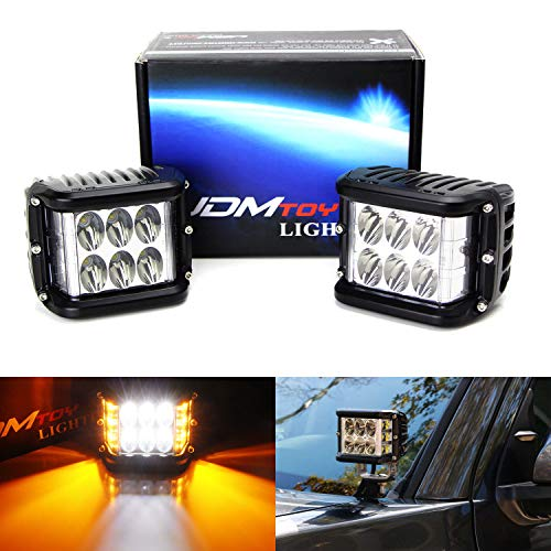 iJDMTOY (2) White LED Pod Lamps w/Amber Side Strobe Lights For Truck SUV Jeep Off-Road ATV 4x4 etc. Powered by (6) 6000K White CREE XB-D LED Diodes & (6) 2500K Yellow LED as Strobe Flashers