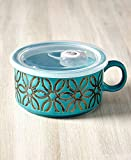 The Lakeside Collection 22-Oz. Embossed Souper Mug - Turquoise Petal