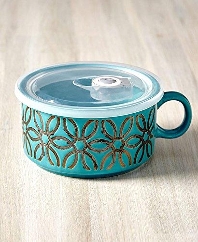 The Lakeside Collection 22-Oz. Embossed Souper Mug - Turquoise Petal (Soup Ceramic Mug)