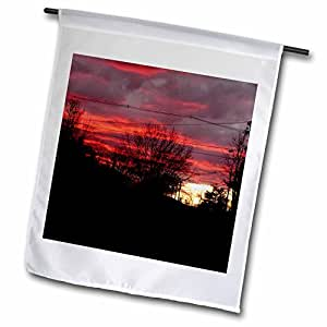 Lenas Photos - Nature - Freezing cold but bright and interesting sunset over the Jersey shore - 18 x 27 inch Garden Flag (fl_59252_2)