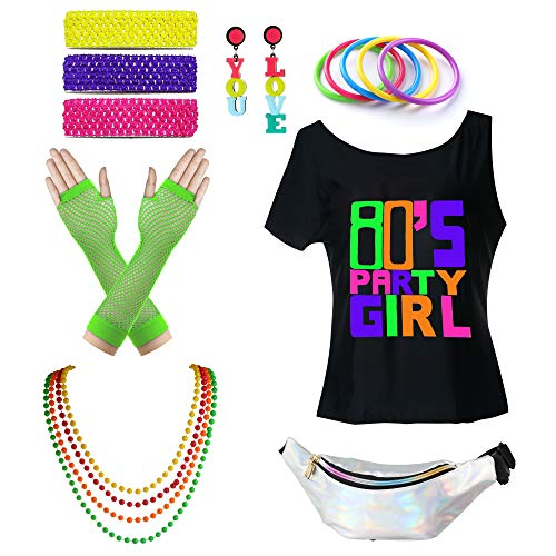 Womens 1980s Accessories I Love The 80's T-Shirt Outfit with Neon Fanny Packs (Party Girls, 2) ()