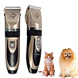 KOBWA Electric Clippers Professional Efficient Pet Shaver Baoran Low Noise Rechargeable Dogs & Cats Clipper Fashion Pet Beauty Pruning Tools Multifunction Safe Operation Grooming Trimming Kit Set (Luxury Gold)