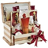 French Vanilla Bath Set, Essential Bath and Body Basket: 2 Vanilla Bath Bombs, Vanilla Body Lotion, Body Spray, Bath Salts, Shower Gel, Bubble Bath, in A Luxury Wooden Jewelry Box - Gift for Women