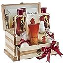 Bath and Body Gift Set Basket by Freida and Joe in French Vanilla Fragrance, with Bath Bomb, Body Lotion, Body Spray, Bath Salts, Shower Gel, and Bubble Bath, in a Luxury Wooden Jewelry Box for Women