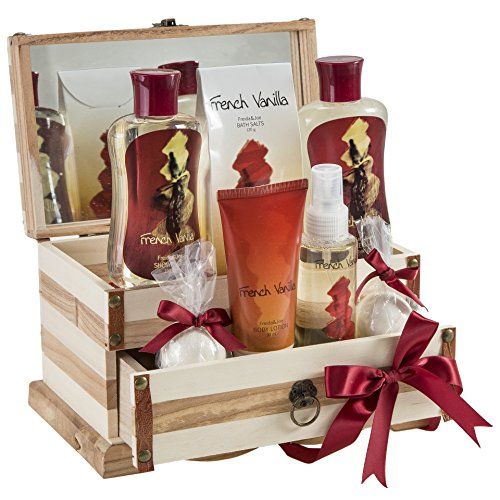 Bath, Body, and Spa Gift Set for Women, in French Vanilla Fragrance, includes Bath Bombs, Body Lotion, Body Spray, Bath Salts, Shower Gel, and Bubble Bath, with Shea Butter and Vitamin E