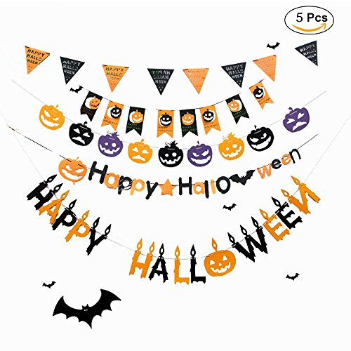 (5 PCS) Happy Halloween Banner Pull The Flag - Halloween Holiday Party DIY Decoration Props - Pumpkin Bat Triangular (Diy Halloween Door Decorations)