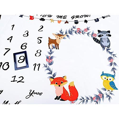 JDD Manta de beb/é Mensual Animales del bosque Reci/én nacido Hito mensual Manta Manta Hito Beb/é Foto Manta Ducha Regalos para ni/ños o ni/ñas